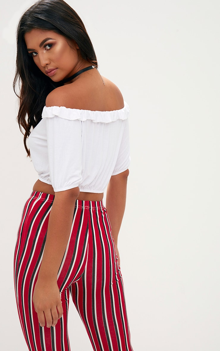 White Jersey Bardot Frill Crop Top 2