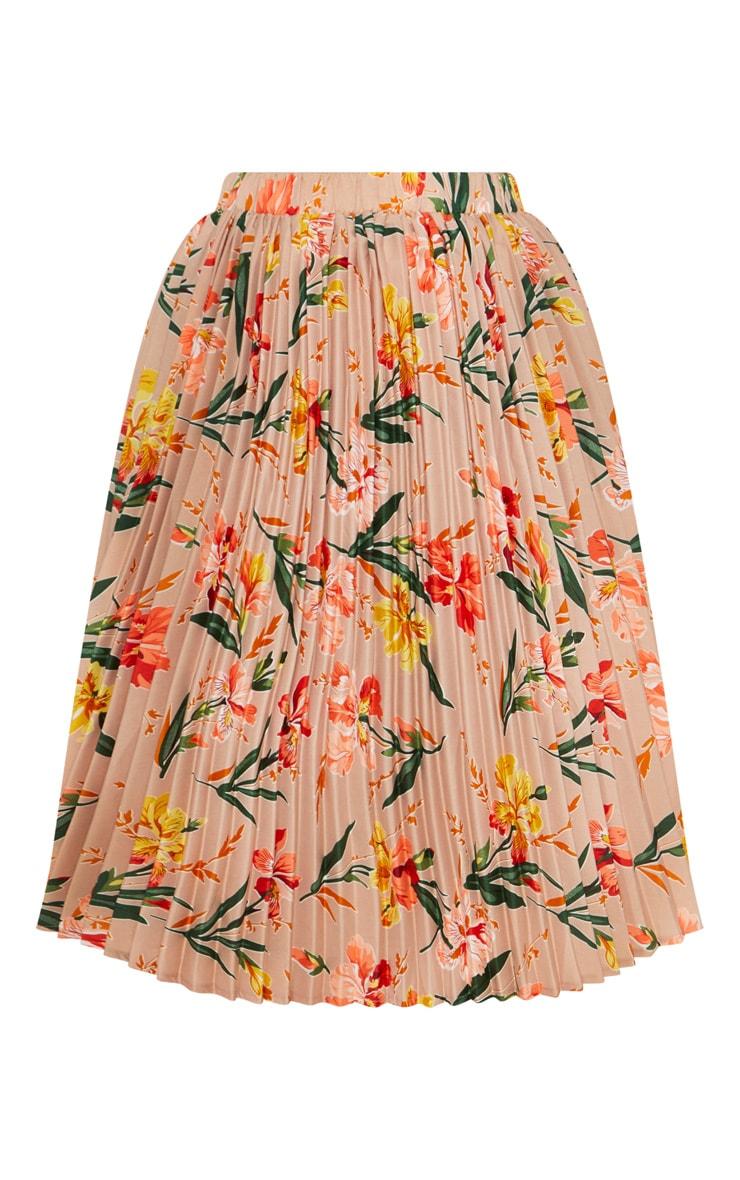 Plus Pink Pleated Midi Skirt 3