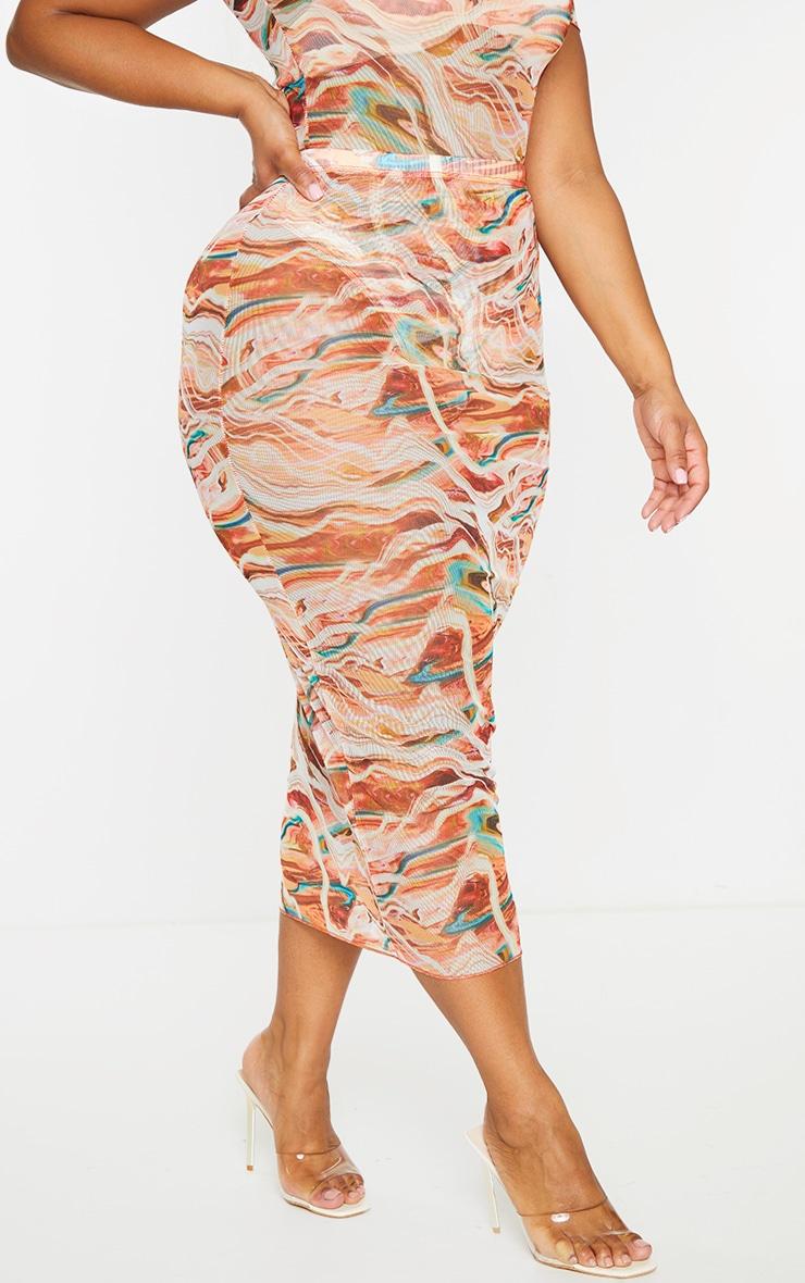 Plus Brown Marble Print Mesh Bodycon Midi Skirt 2