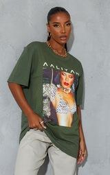 Khaki Aaliyah Printed T Shirt 1