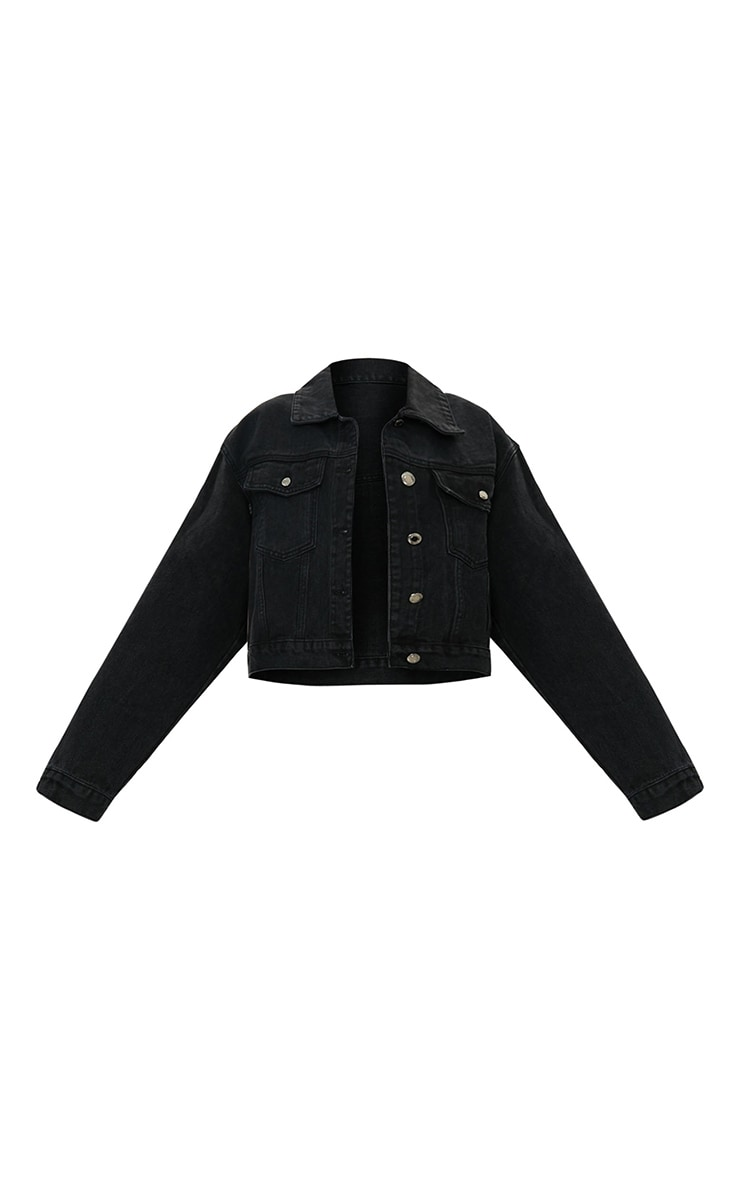 PRETTYLITTLETHING Washed Black Girlfriend Oversized Denim Jacket 5
