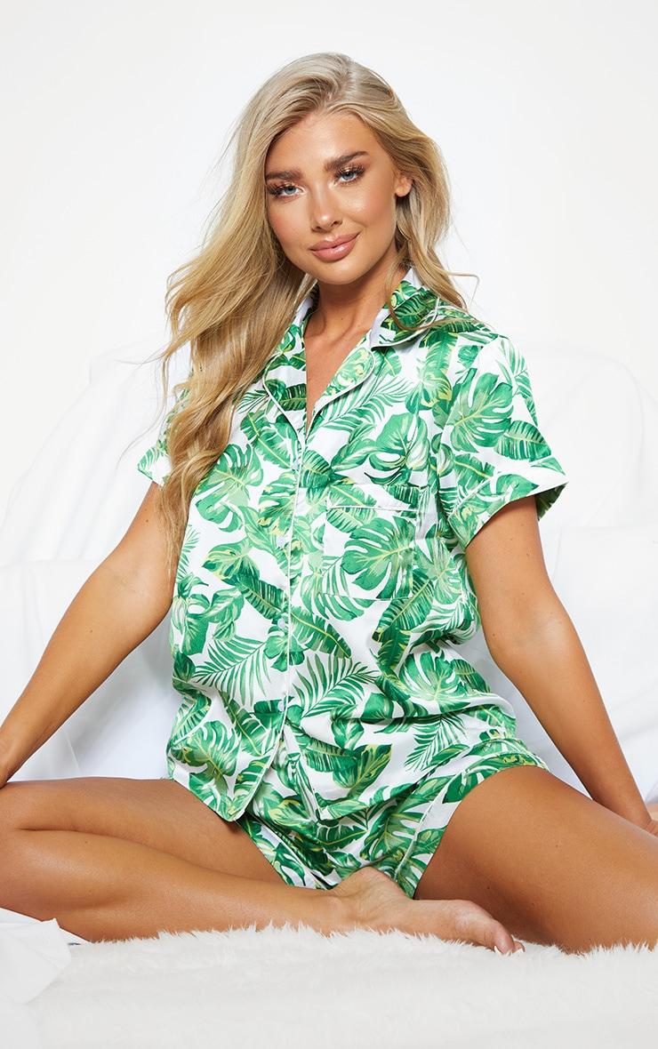 Green Palm Print Short Satin PJ Set 1