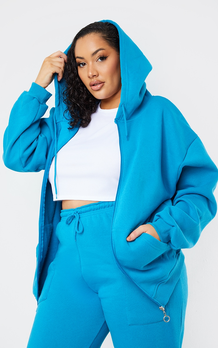 Plus Blue Extreme Oversized Pocket Front Zip Through Hoodie 1