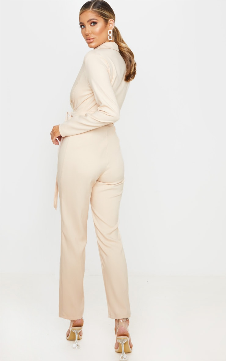 Nude Satin Lapel Tie Detail Jumpsuit 2