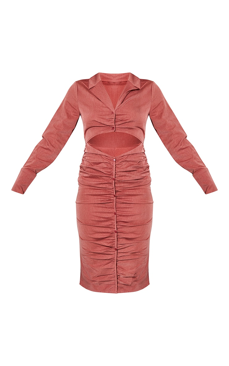 Rust Woven Ruched Cut Out Detail Shirt Style Midi Dress 5