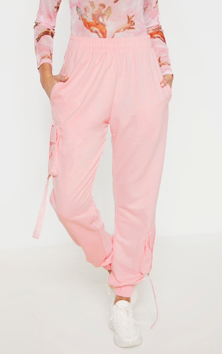 Tall Baby Pink Cargo Detail Casual Jogger 2