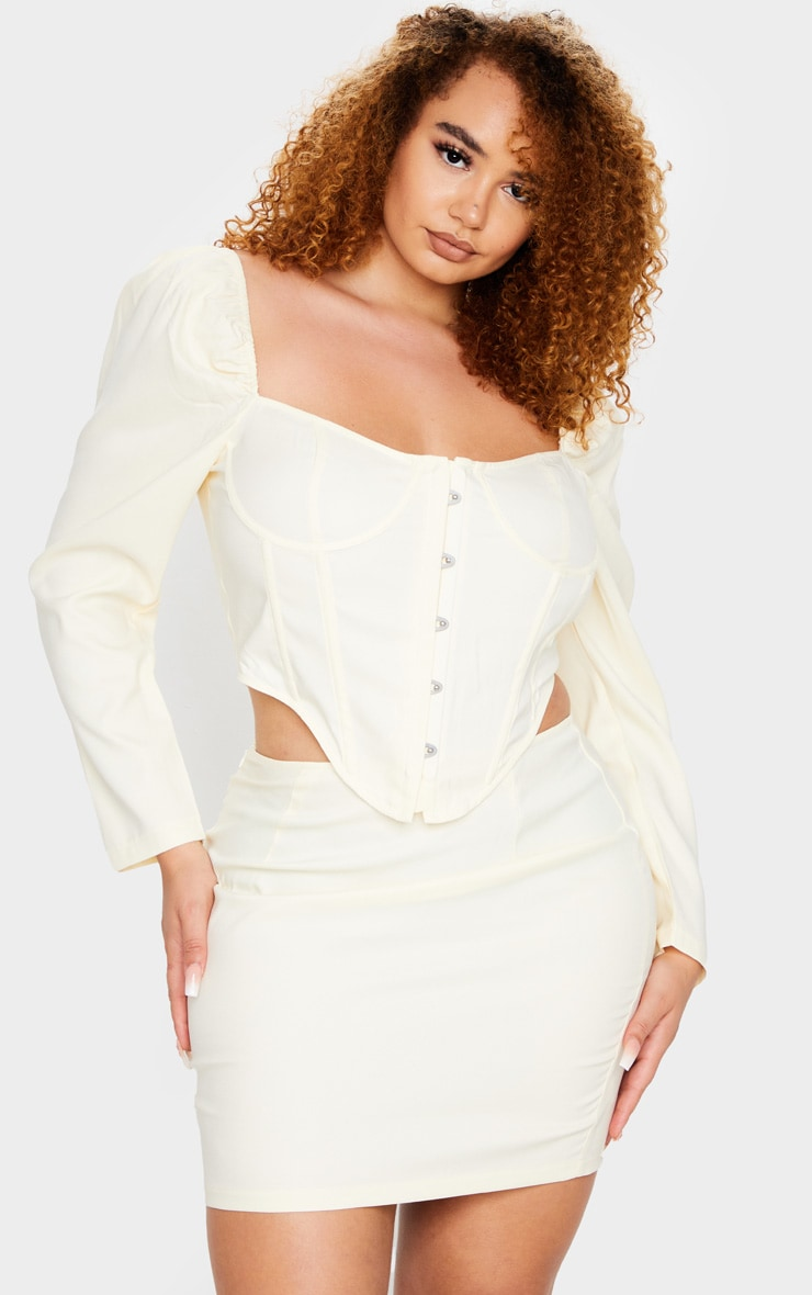 Plus Cream Puff Long Sleeve Bust Cup Corset 1