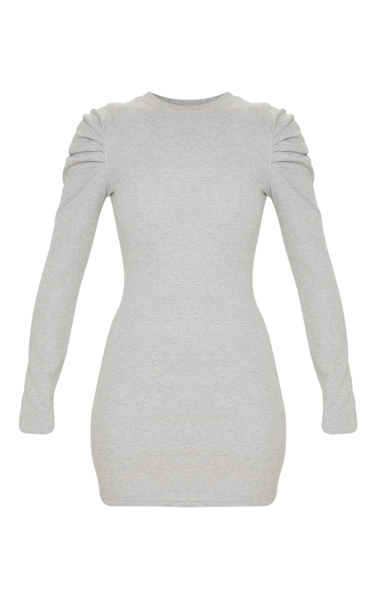 Grey Puff Sleeve Rib Knit Bodycon Dress 3