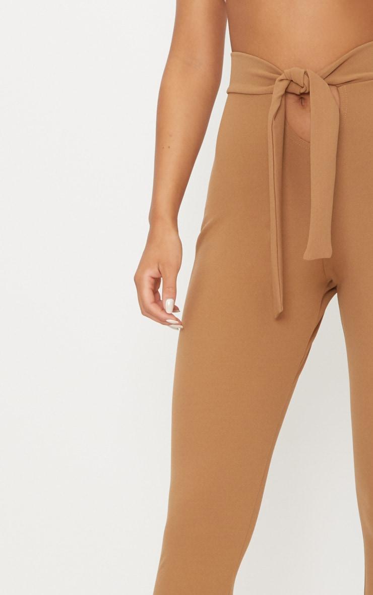 Camel Open Front Tie Waist Trouser  5