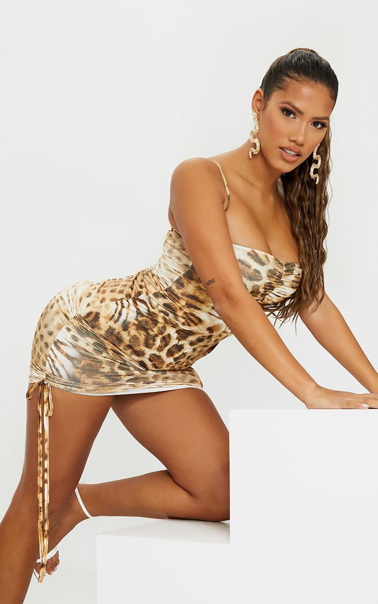 Shape Brown Animal Print Slinky Ruched Side Bodycon Dress 3