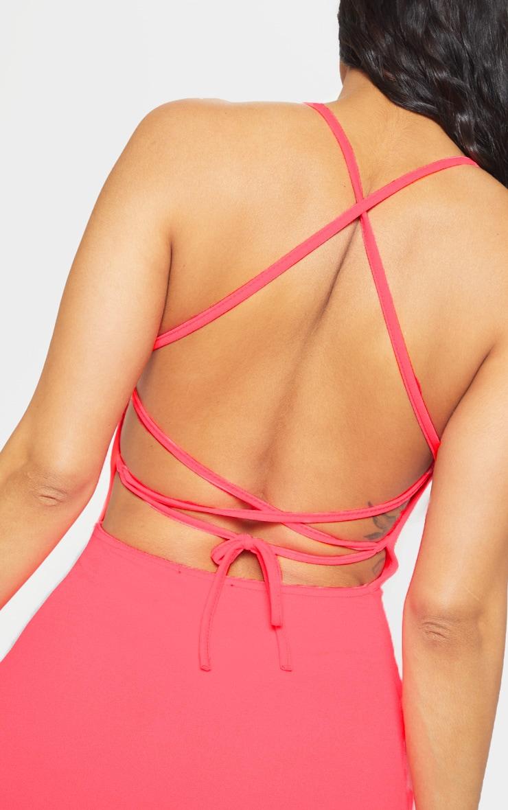Neon Pink Strappy Cross Back Bodycon Dress 5