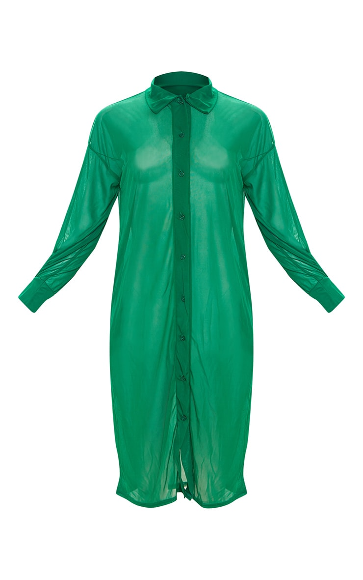 Plus Green Oversized Midi Beach Shirt 5