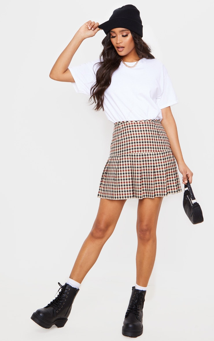 Stone Check Woven Pleated Mini Skirt image 1