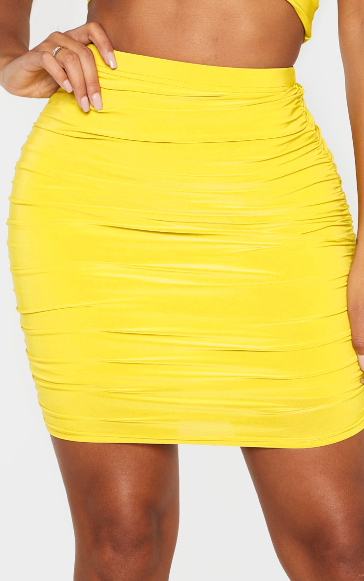 Shape Chartreuse Ruched Bodycon Skirt 6
