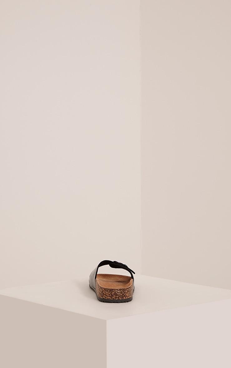 Liliy Black Patent Slip On Sandals 4
