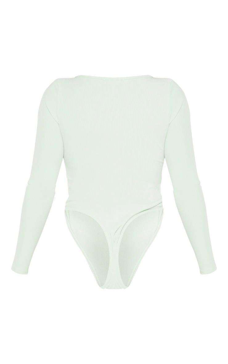 Shape Sage Khaki Ribbed Long Sleeve Bodysuit 4