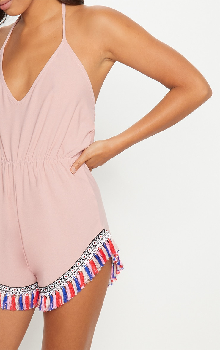 Pink Halter Neck Tassel Trim Playsuit 5