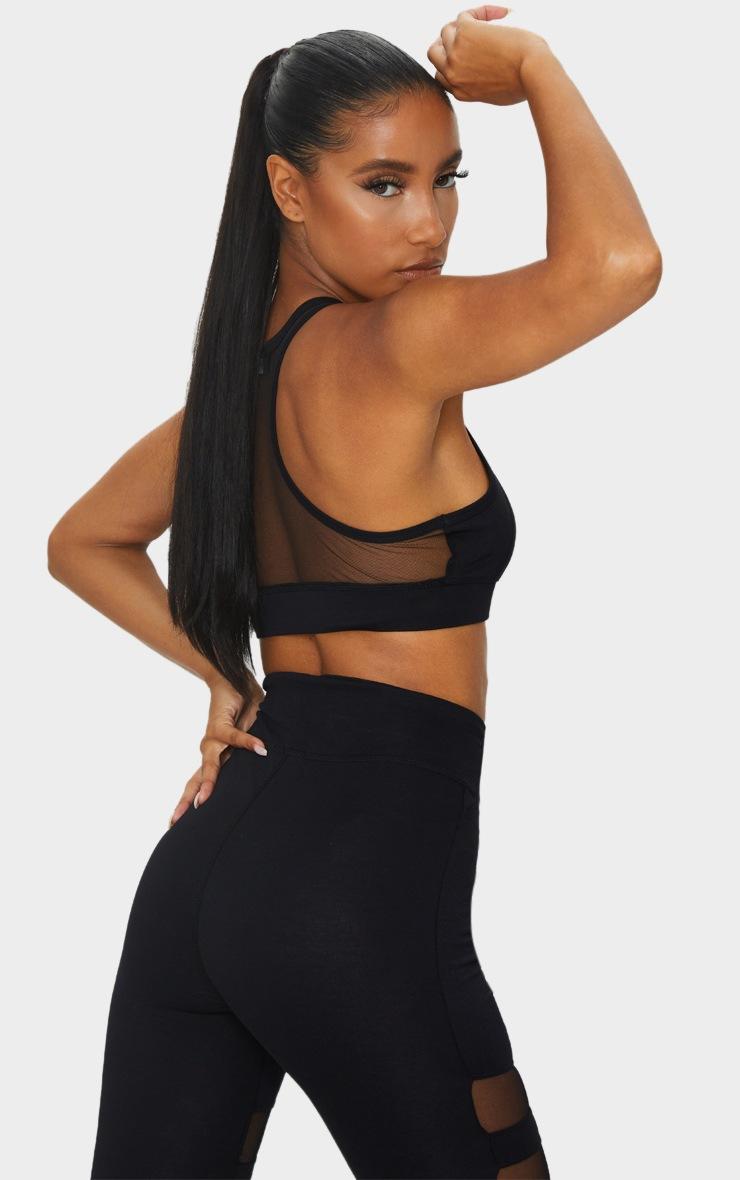 Black Soft Yoga Mesh Back Sports Bra 2