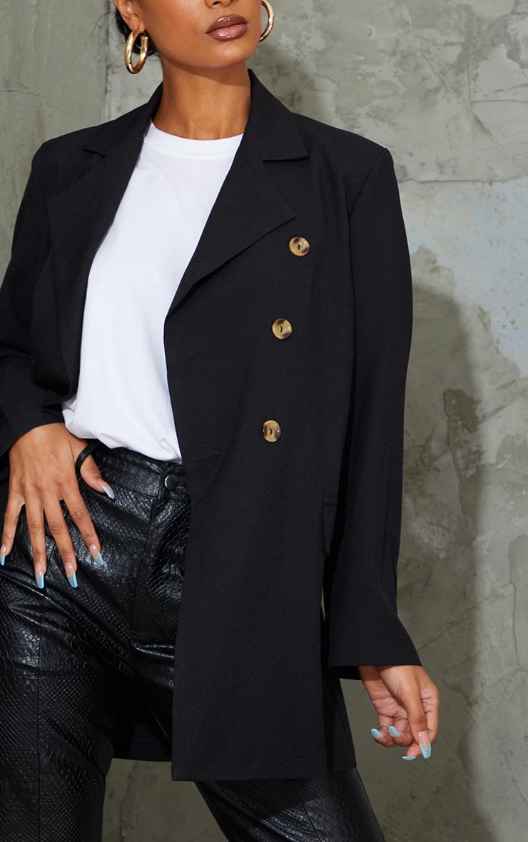 Black Woven Oversized Shoulder Pad Button Down Blazer 4