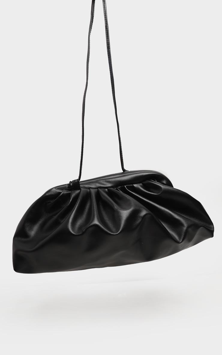 Black PU Ruched Oversized Clutch Bag 3