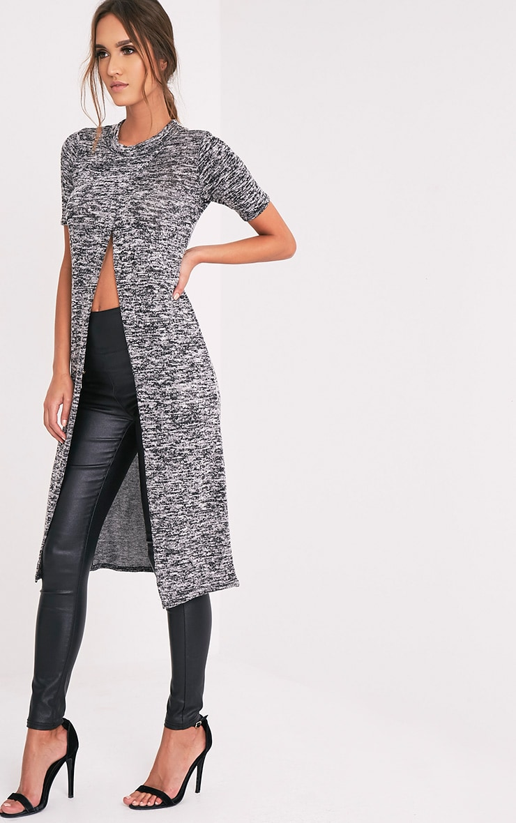 Ezadora Grey Fine Knit Long Line Split Top 1