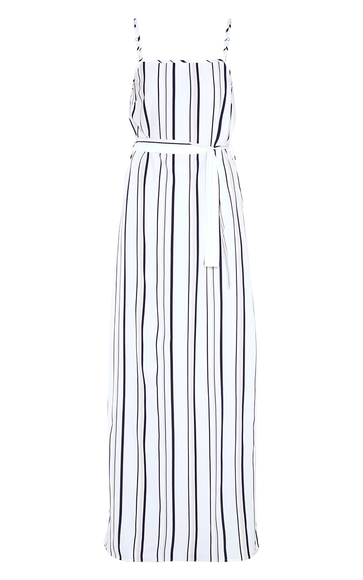 Blue Stripe Square Neck Tie Waist Maxi Dress 3