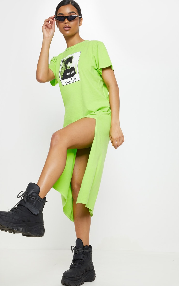 Washed Lime Too Late Slogan Oversized Midi Dress 4