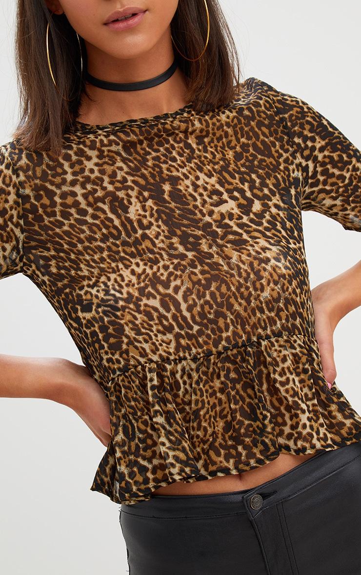 Tan Leopard Print Mesh Frill Sleeve T Shirt 5