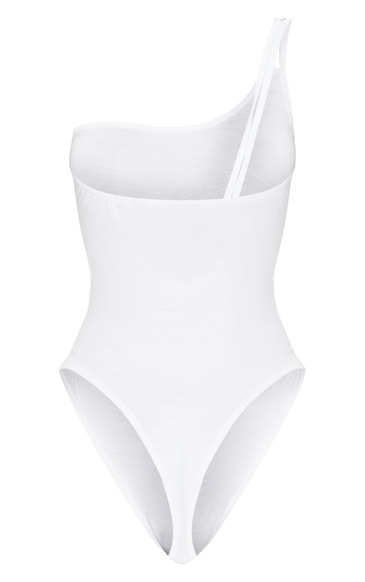 White Jersey Double Strap One Shoulder Bodysuit 4