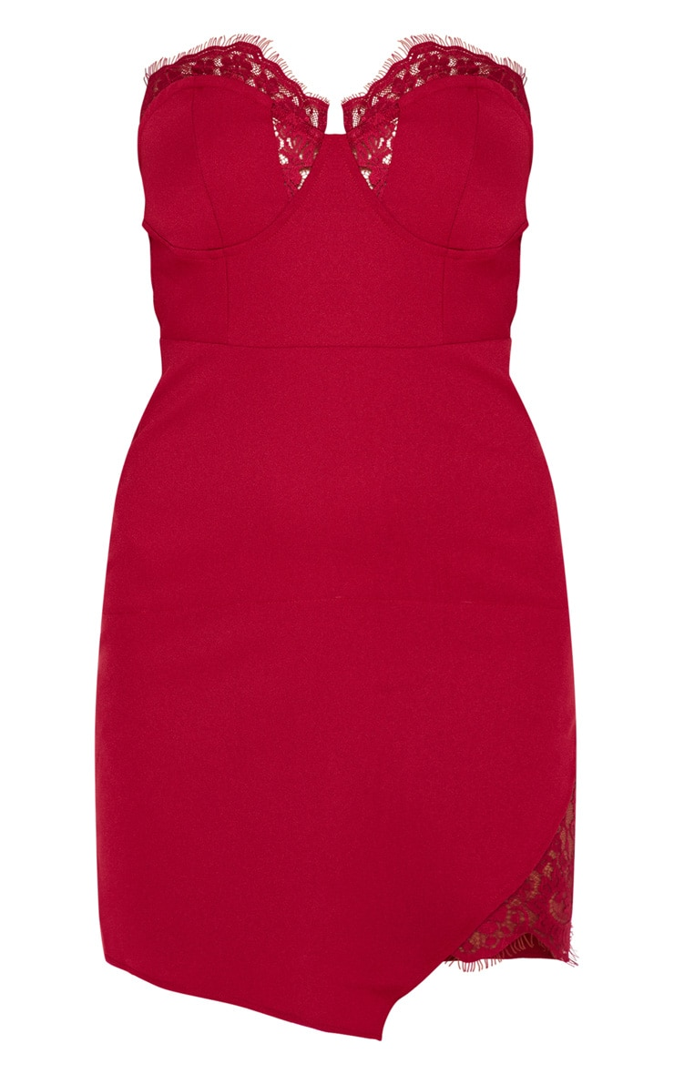 Burgundy Cup Detail Lace Insert Bodycon Dress 3