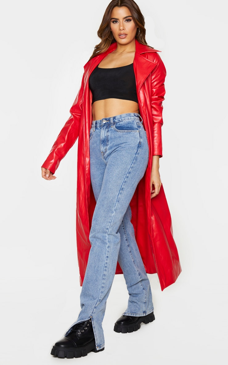 Tall Red PU Longline Trench 3