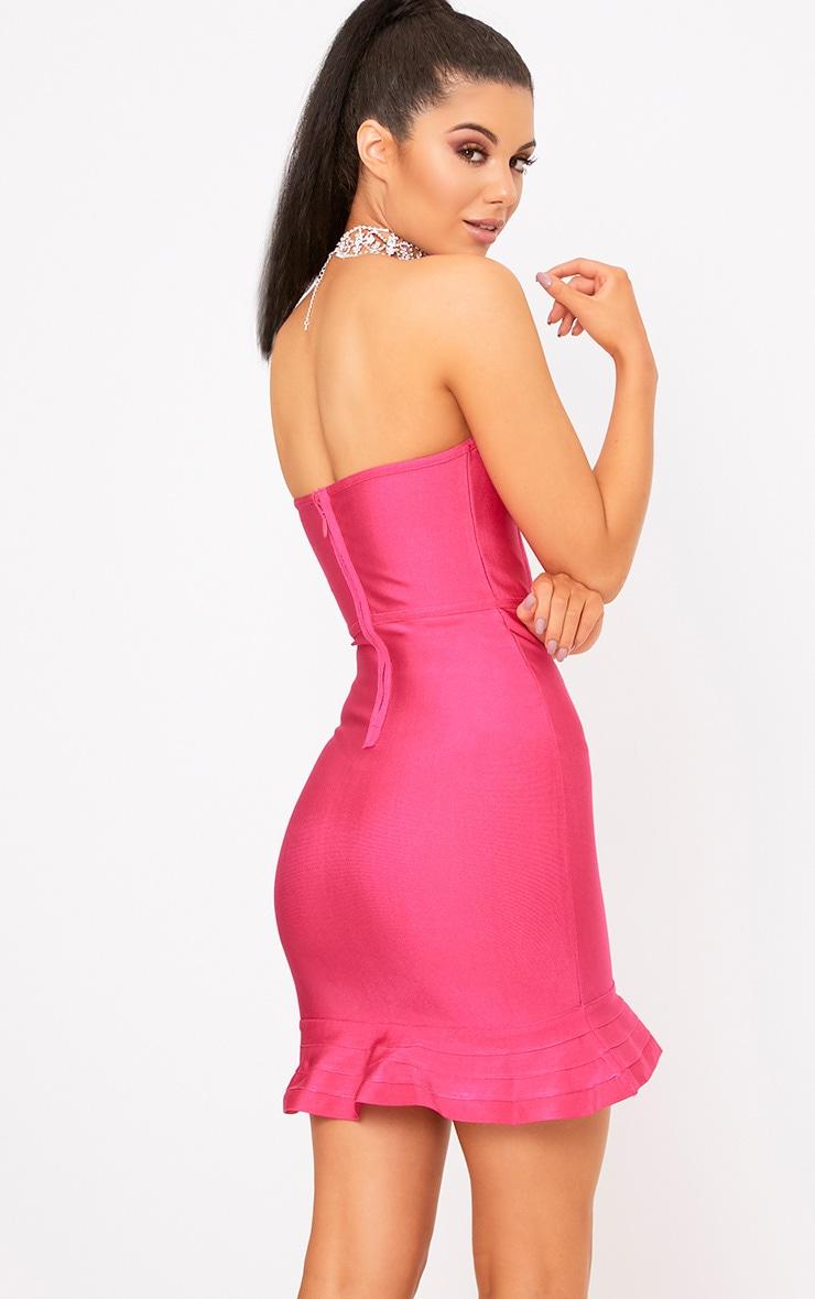 Presli Fuchsia Bandage Frill Hem Bodycon  Dress  2