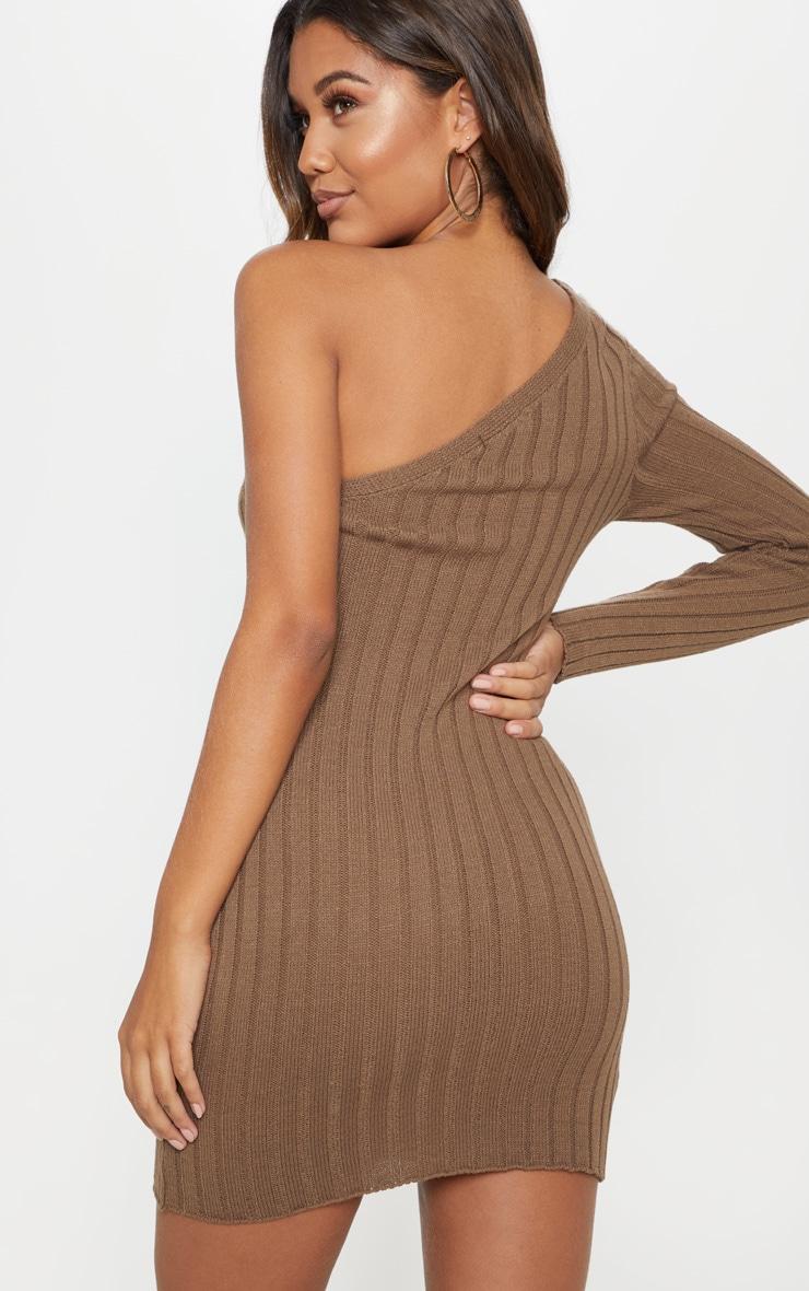 Taupe Asymmetric Knitted Rib Dress 2