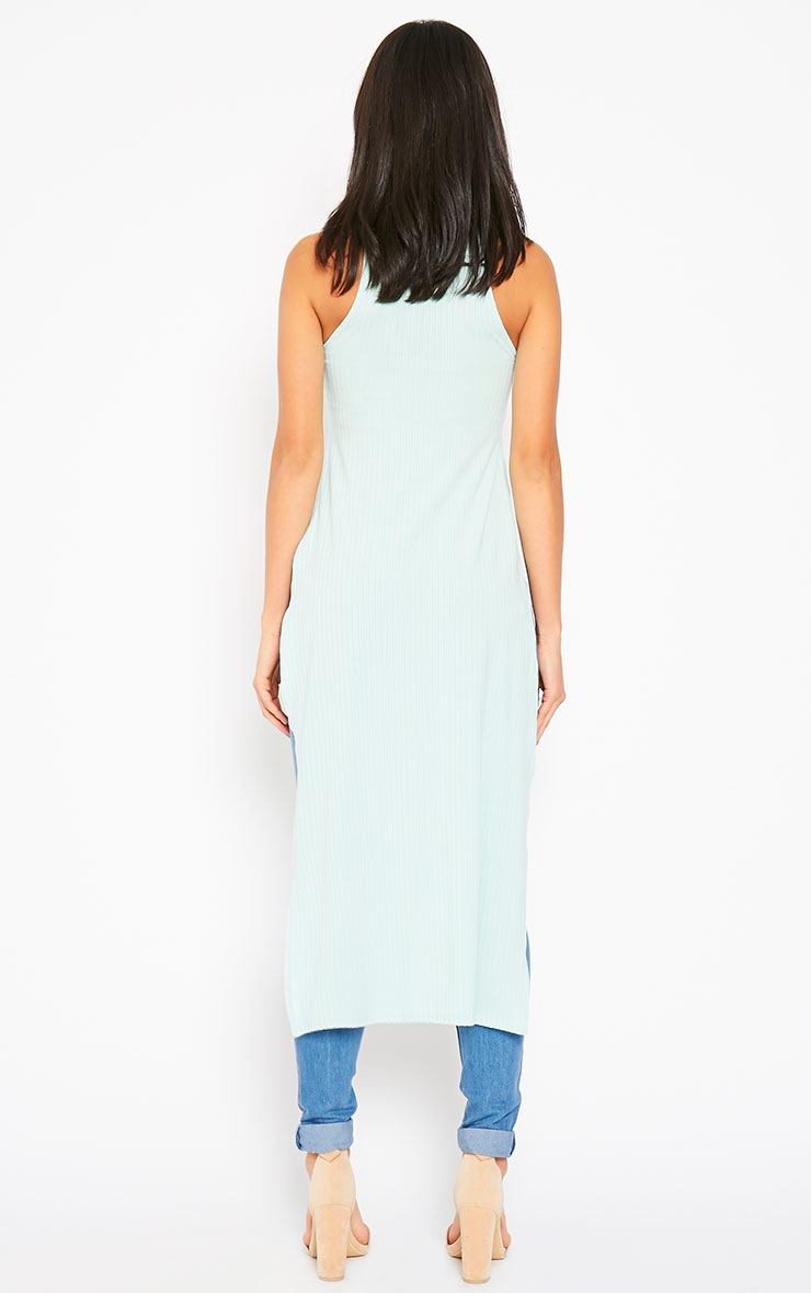 Aaralyn Mint Ribbed Side Split Dress 2