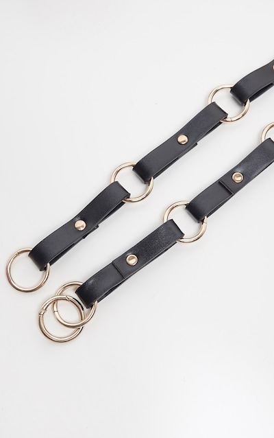 Black Ring PU Belt