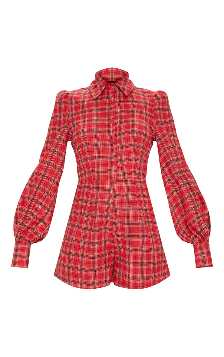 Red Check Puff Sleeve Button Up Playsuit 3