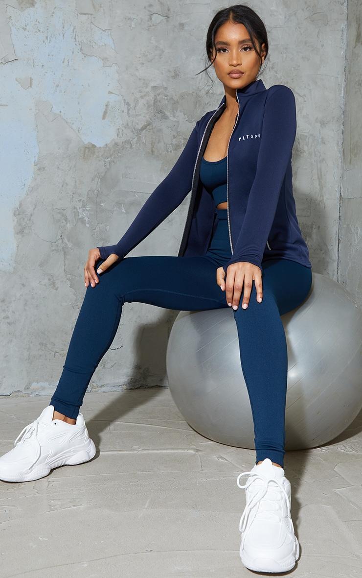 PRETTYLITTLETHING Blue Scuba Zip Up Sports Jacket 3