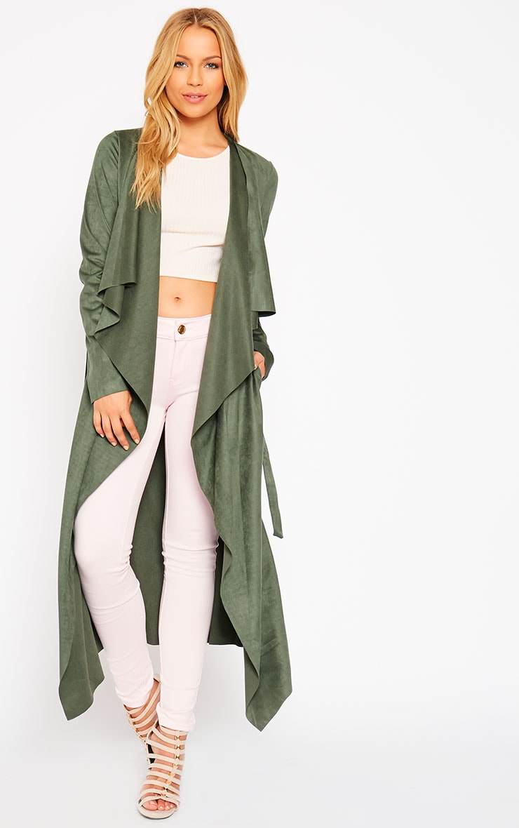 Liberty Khaki Suede Waterfall Coat 4
