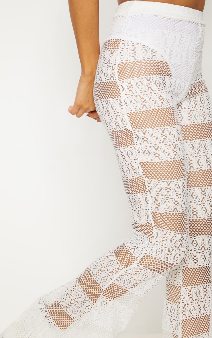 White Crochet Flared Trousers 5