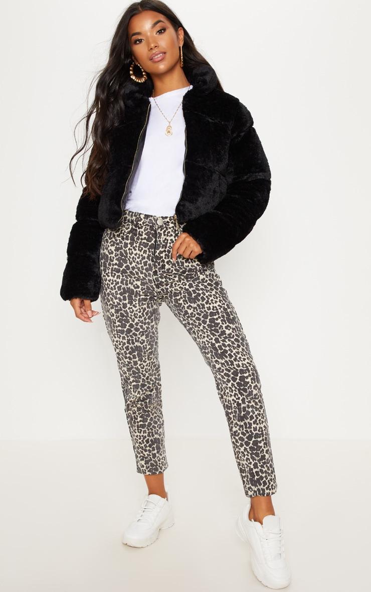 Black Faux Fur Puffer Jacket 5