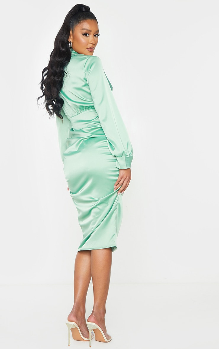 Sage Green Satin Knot Skirt Cut Out Midi Dress 2