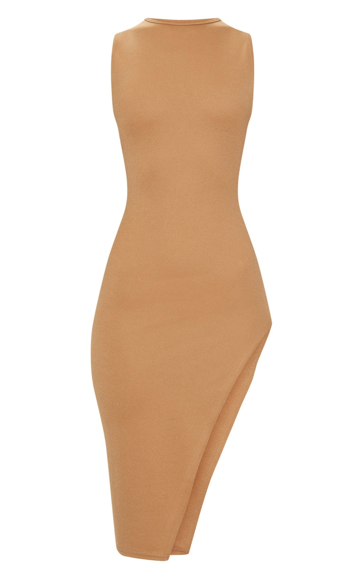 Camel Side Strap Detail Extreme Split Midi Dress  3