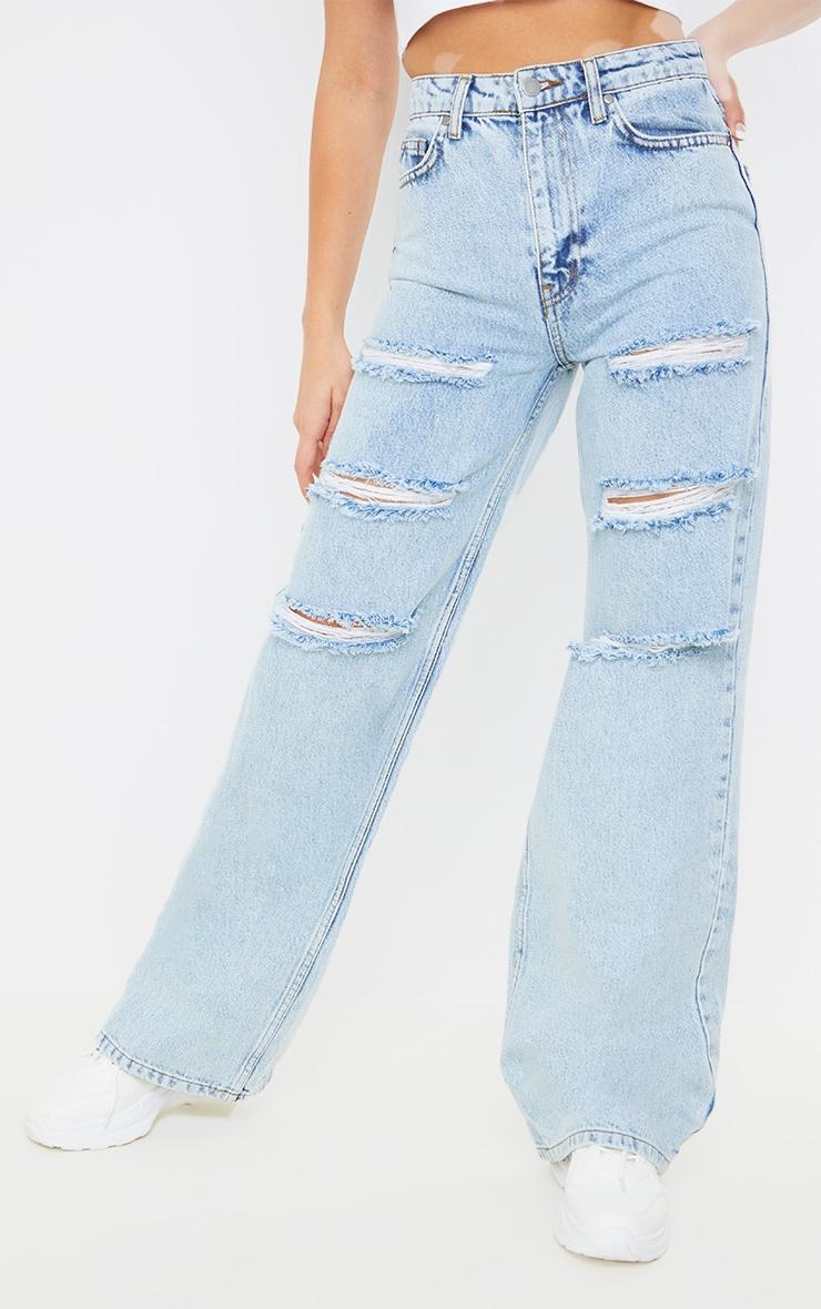 Vintage Wash Distressed Wide Leg Jeans 2