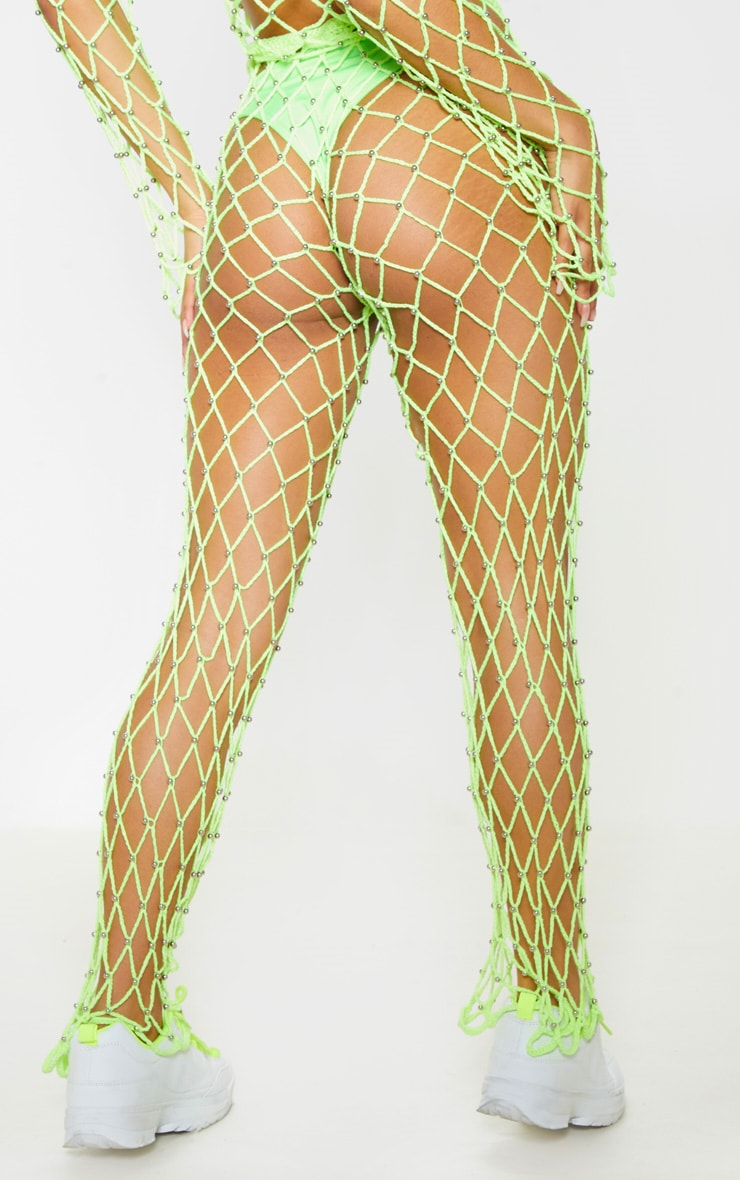 Neon Lime Crochet Beaded Knitted Trousers 5