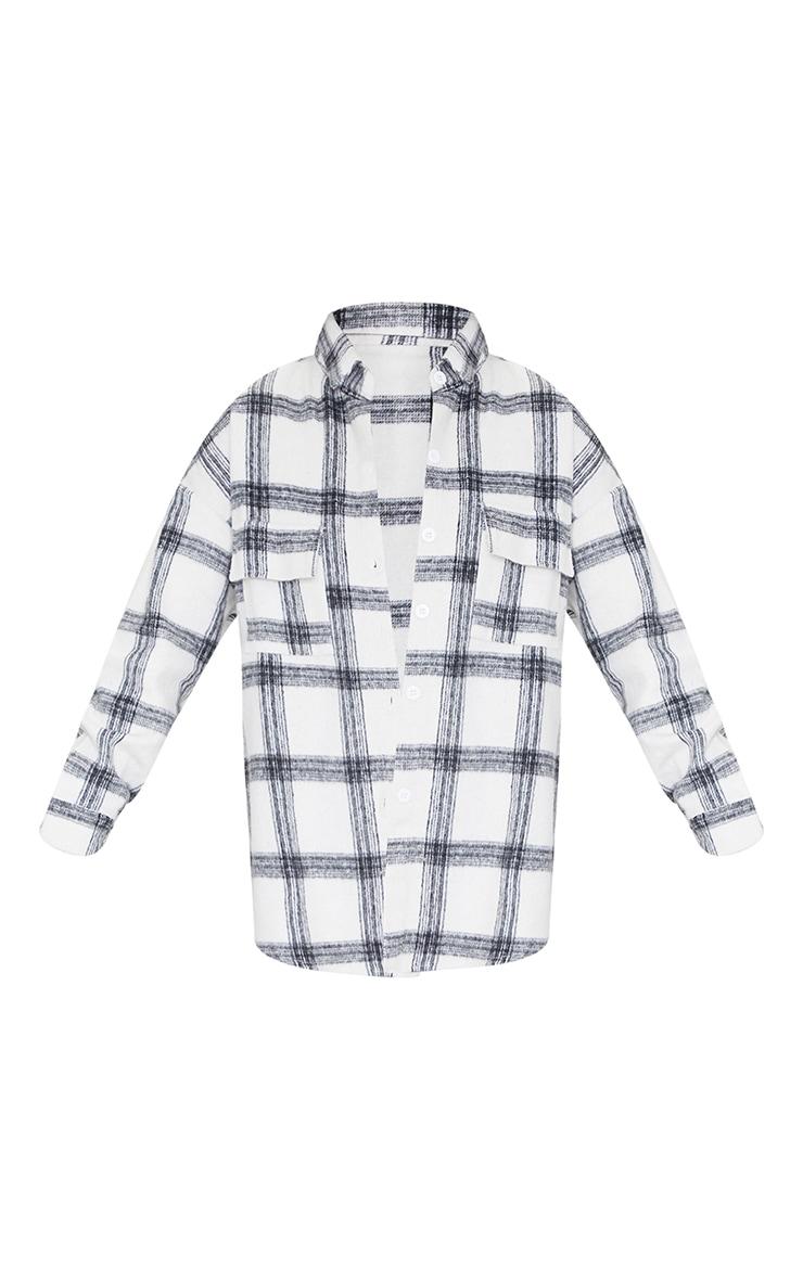 Petite White Brushed Check Shirt 5