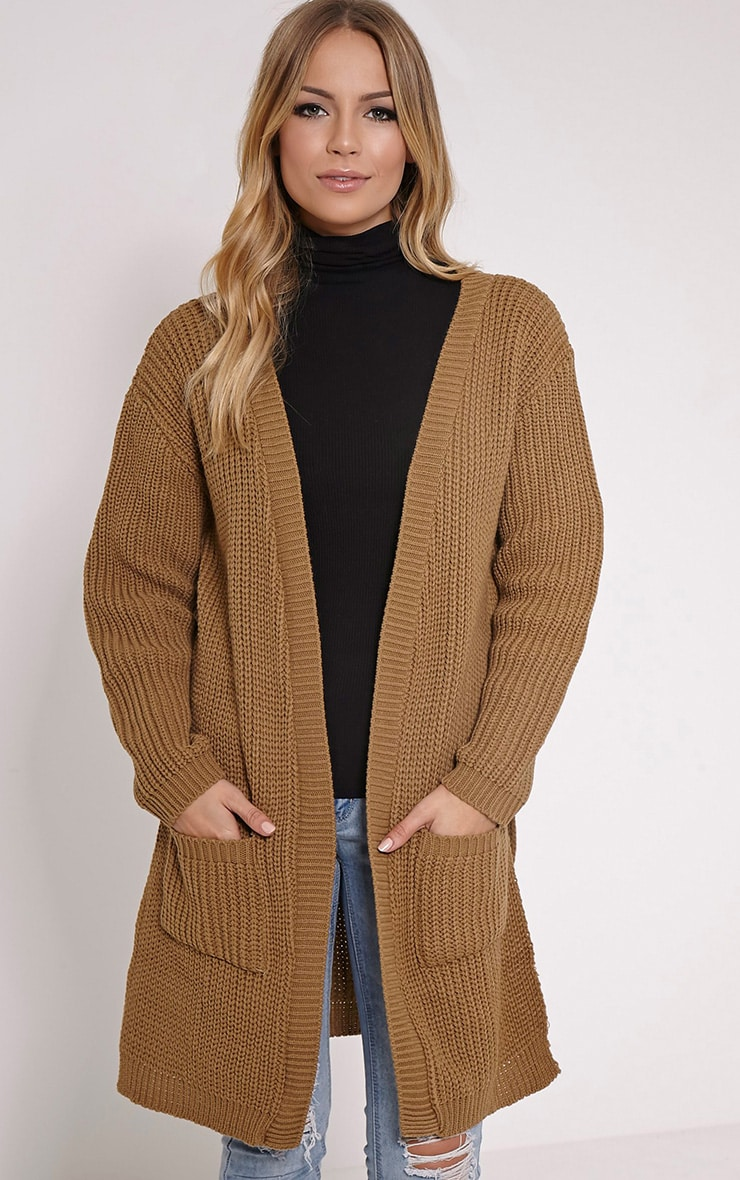 Tilly Camel Side Split Oversized Cardigan 1