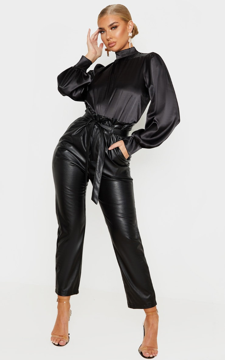 Black Satin High Neck Puff Sleeve Top 4