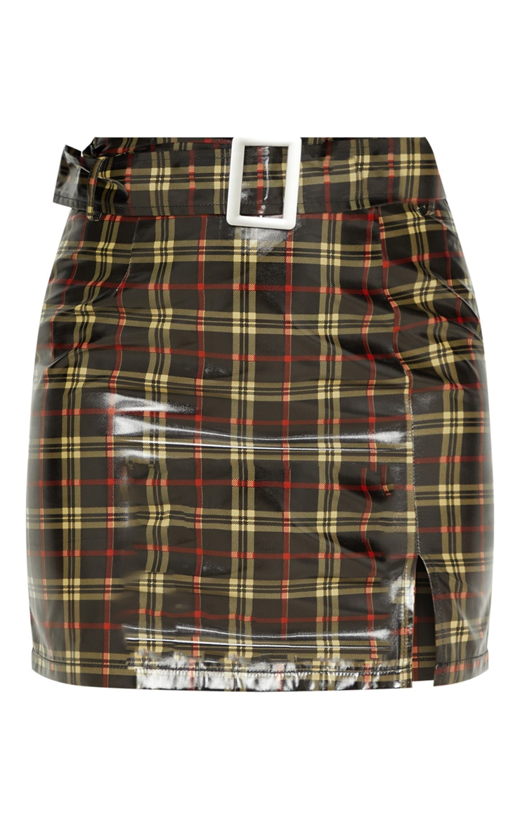 Black Check Belted Waist Patent Mini Skirt 3