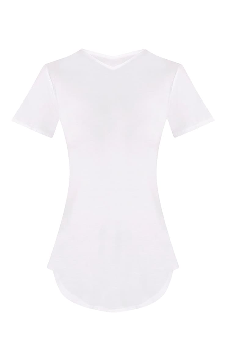 Basic White Curved Hem T Shirt 3