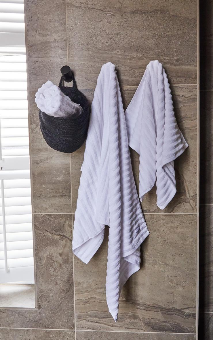 White Textured Ribbed Cotton Medium Bath Towel  2